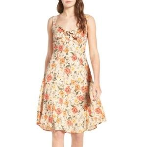 Floral Tie-Front Midi Dress